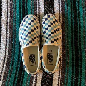Vans blue topaz checkerboard slip on 7931fdc31
